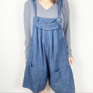 Vintage Roaman's oversized denim overall shorts